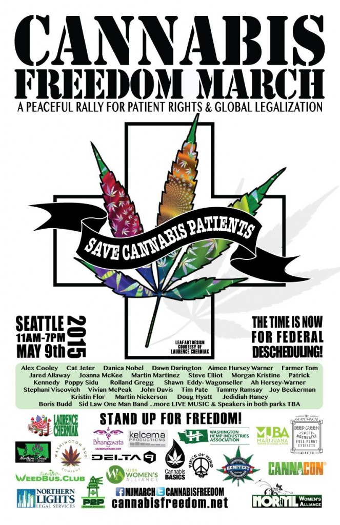 Hundreds of cannabis activists and community supporters are expected to gather in Seattle this Saturday for the Cannabis Freedom March to raise awareness for Patient Rights and to demand Global Legalization of Cannabis. The March will begin on Saturday, May 9th at 11 AM at Volunteer Park and wind up at Westlake at 7PM.